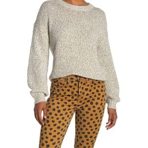 Madewell Baez Marled Gravel Cotton Blend Sweater